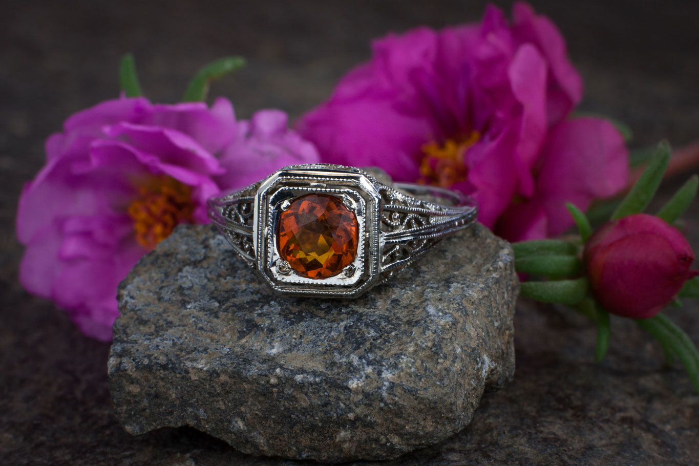 antique ring with flower background